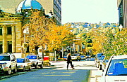 Montreal Sidewalk Terraces Acrylic Prints - Autumn On Mount Royal Greene Avenue Westmount Near Sherbrooke October Montreal City Scene Acrylic Print by Carole Spandau