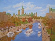 Autumn On The Canal Print by Darlene Agner