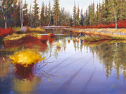 Sunriver Paintings - Autumn on the Fall River by Pat Cross