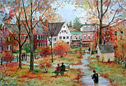 New England Village  Paintings - Autumn on the Green by Sherri Crabtree
