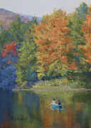 Canoe Pastels Posters - Autumn on the Lake Poster by Marna Edwards Flavell