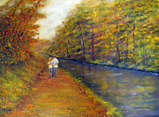 United States Paintings - Autumn On The Towpath by Loretta Luglio