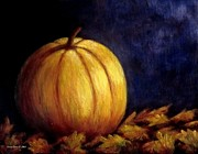 Pumpkins Paintings - Autumn Painting by Annie Zeno