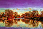 Violet Art Digital Art Prints - Autumn Park Print by Ayse T Werner