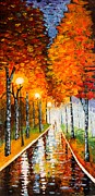 Autumn Colors Posters - Autumn Park Night Lights palette knife Poster by Georgeta  Blanaru
