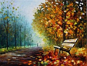 Leonid Posters - Autumn Park - PALETTE KNIFE Oil Painting On Canvas By Leonid Afremov Poster by Leonid Afremov