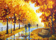 Road Painting Prints - Autumn parkway Print by Veikko Suikkanen