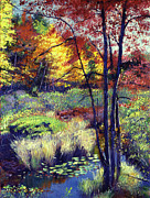 Reds Posters - Autumn Pond Poster by David Lloyd Glover