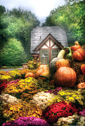 Autumn Farm Scenes Prints - Autumn - Pumpkin - This years harvest was Awesome  Print by Mike Savad