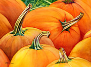 Pumpkins Paintings - Autumn Pumpkins by Hailey E Herrera
