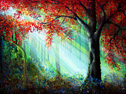Kinkade Prints - Autumn Rays Print by Ann Marie Bone