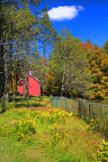 Scenic Connecticut Posters - Autumn Red Barn Poster by Joann Vitali