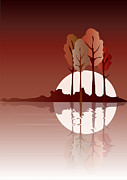 Lake Digital Art Prints - Autumn reflected Print by Jane Rix
