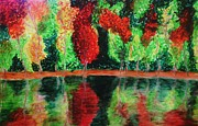 Autumn Trees Drawings Prints - Autumn Reflection Print by Crystal  Menicola