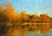Orange Digital Art Originals - Autumn Reflections by Angela A Stanton