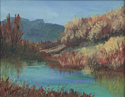 Colorado Mountain Stream Paintings - Autumn Reflections by Bev Finger
