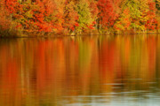 Beach Scenery Prints - Autumn Reflections from Waramaug Print by Thomas Schoeller