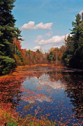 River. Clouds Prints - Autumn Reflections Print by Joann Vitali