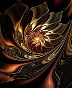 Youthful Digital Art Metal Prints - Autumn Reverie Abstract Metal Print by Zeana Romanovna