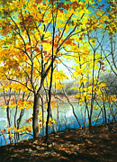 Realistic Watercolor Prints - Autumn River Walk Print by Barbara Jewell