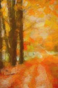 Autumn Framed Prints - Autumn Road Abstract Watercolor Framed Print by Terri Gostola