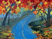 Park Scene Painting Originals - Autumn Road by Jamie Frier