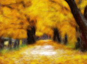 Yellow Leaves Pastels Prints - Autumn Road Print by K- Art