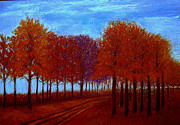 Oil Pastel Paintings - Autumn Road by Kent Whitaker