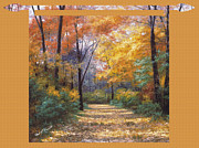 Water Art - Autumn Road Tapestry Look by Diane Romanello