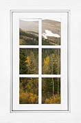 Room With A View Framed Prints - Autumn Rocky Mountain Glacier View Through a White Window Frame  Framed Print by James Bo Insogna