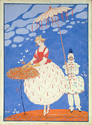 Season. Sky. Clouds Prints - Autumn Roses  Print by Georges Barbier