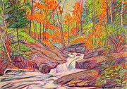 Creeks Drawings Prints - Autumn Rush Print by Kendall Kessler