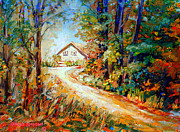 Abandoned Houses Painting Posters - Autumn Scene Quebec Secluded Cabin Edge Of The Woods Poster by Carole Spandau