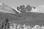James BO  Insogna - Autumn Season View of  Rocky Mountains Longs Peak BW