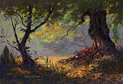 Trees Forest Paintings - Autumn Shade by Michael Humphries