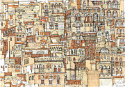 Gulf Drawings Posters - Autumn shaded Arabian cityscape Poster by Lee-Ann Adendorff