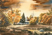 Water Color Mixed Media Posters - Autumn Sky No W103 Poster by Kip DeVore