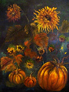 Pumpkins Paintings - Autumn Smiling by Sharon Burger