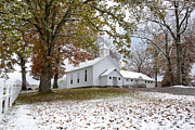 Presbyterian Framed Prints - Autumn Snow and Country Church Framed Print by Thomas R Fletcher