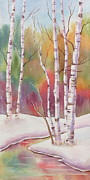 Winterscape Painting Originals - Autumn Snow by Deborah Ronglien