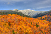 Lafayette Prints - Autumn Snow on Mount Lafayette Print by Ken Stampfer