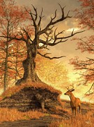 Colors Of Autumn Digital Art Prints - Autumn Stag Print by Daniel Eskridge