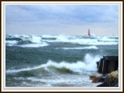 Waterscape Drawings Posters - Autumn Storm At Muskegon Pier Waves Tumbling And Crashing In Poster by Rosemarie E Seppala