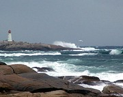 Granite Mixed Media Posters - Autumn Storm at Peggys Cove Poster by Janet Ashworth