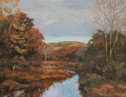 Gregory Arnett Paintings - Autumn Stream by Gregory Arnett