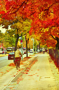 Berlin Tapestries Textiles Originals - Autumn street by Gynt
