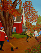 Hockey Painting Originals - Autumn Street Hockey by Anthony Dunphy