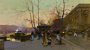 Flower Scene Digital Art - Autumn Street Scene by Eugene Galien Laloue