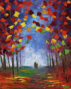 Autumn Trees Painting Posters - Autumn Stroll Poster by Ash Hussein