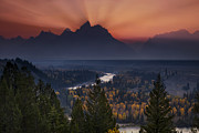 Fog; Landscape; Mist; Mountain; Mountains; Nature; Nobody; Outdoors; Outside; River; Rivers  Photos - Autumn Sunset at the Snake River Overlook by Andrew Soundarajan
